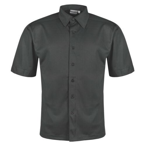 Nouveau Homme Chemise à manches courtes boutonné Respirant Business travail formel plain top