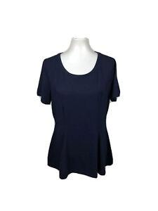 Isaac Mizrahi Live Women's Size M Short-Sleeve Seamed Peplum Knit Top Navy Blue