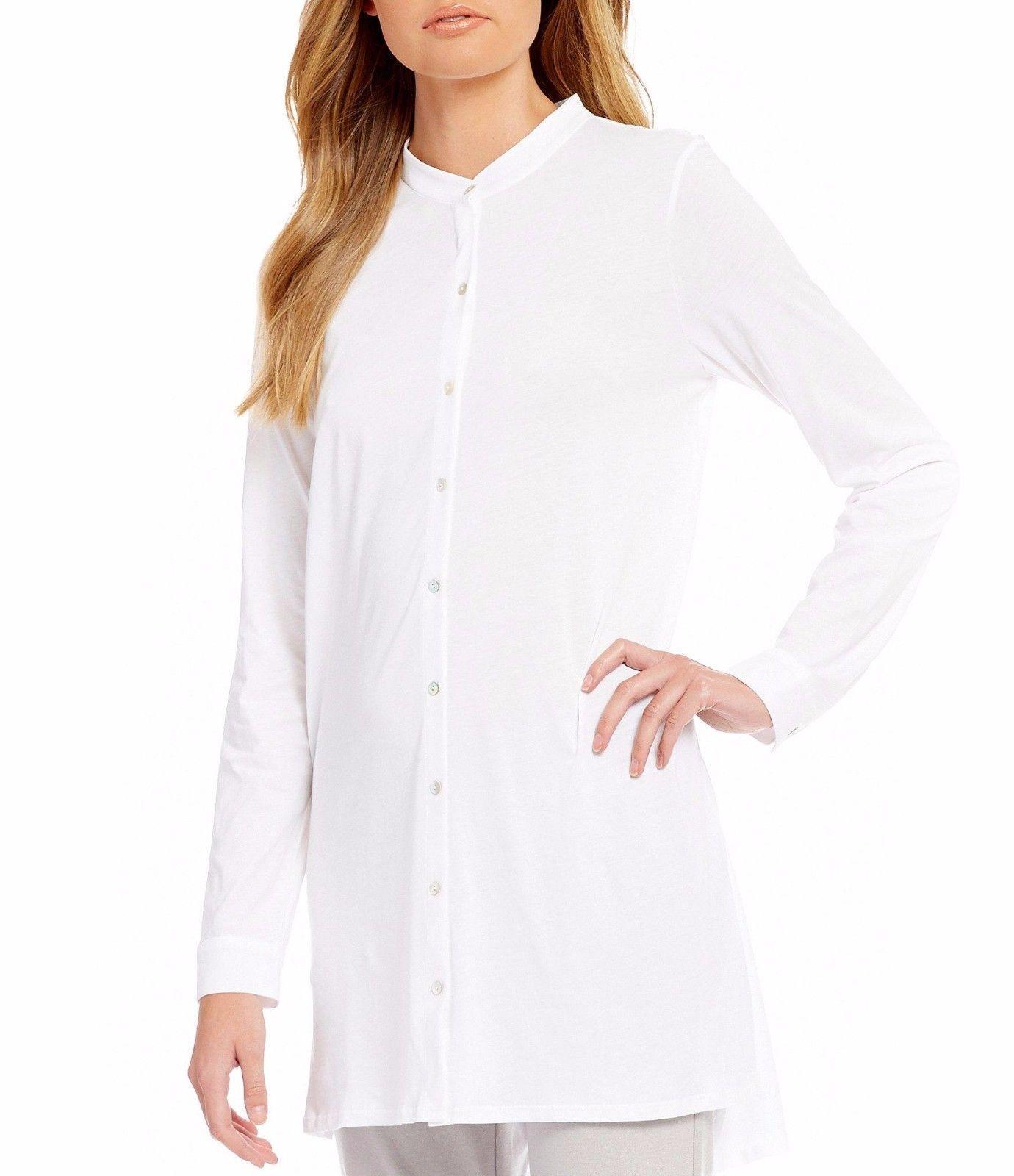 Eileen Fisher White Cotton Jersey Mandarin Collar Tunic Top XXS, XS, L