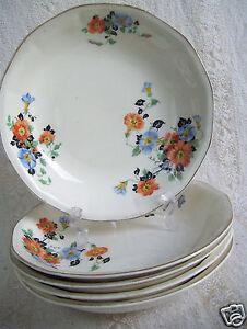 Antique-5-Soup-Bowls-7-5-034-Golden-Glo-Glow-American-Dinnerware-Pattern-Limoges