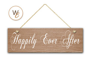 Happily-Ever-After-Sign-5-5-034-x-17-034-Wood-Sign-Rustic-Home-Decor-Wedding-Gift