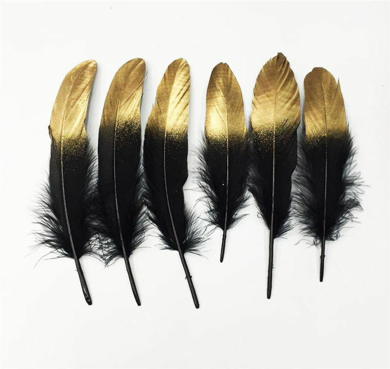10-1000 un Hermosa natural pluma de ganso 6-8 Pulgadas//15-20cm Oro//plata