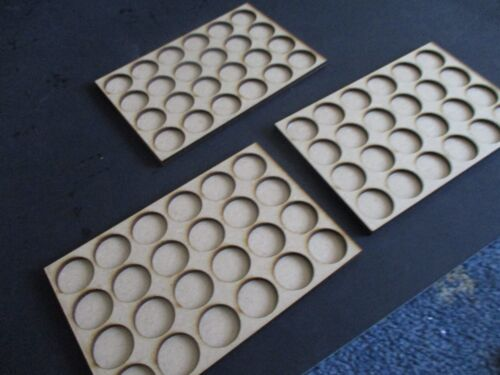 3x 25mm round movement trays with 24 holes per tray regiment 6X4 rows MDF