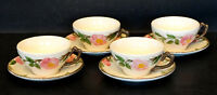 Vintage FRANCISCAN WARE China DESERT ROSE / 4 CUPS & SAUCERS w/ USA Mark