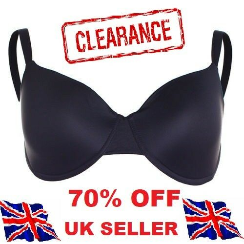 *Underwired Non Padded Soft Comfort Full Cup Bra Lingerie BLACK  size 40B CRSMT