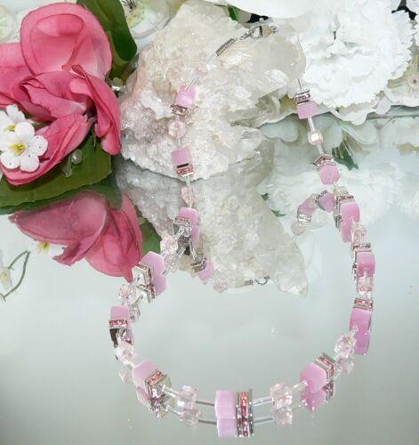 3er schmuckset perlas Cat Eye rosa vaso de cristal clara a partir del Rose pedrería multicolor 507f