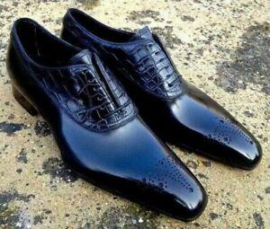 Men-039-s-Pure-Handmade-Crocodile-Cuir-Veau-Robe-Alligator-Designer-Shoes