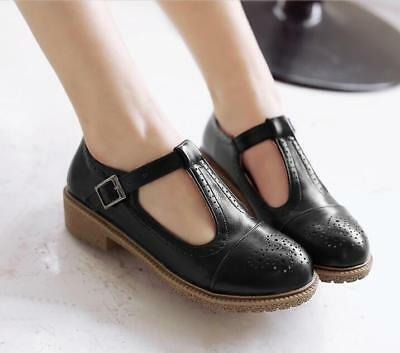Womens Oxford Ankle Strap Sweet Mary Janes Sz35-43 Sweet Brogues Flat Shoes