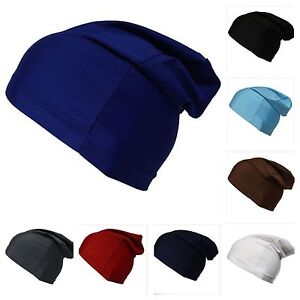 79bf2455173 Image is loading BEANIE-Slouch-Dome-Cap-Spandex-Liner-Sports-Biker-