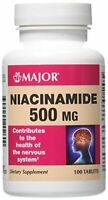 3 Pack Major Niacinamide 500mg Tablets 100 Count Each