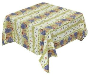 Provencal 100/% Coated Cotton Tablecloth Olives Ecru//Green 59 X 59 Made In France