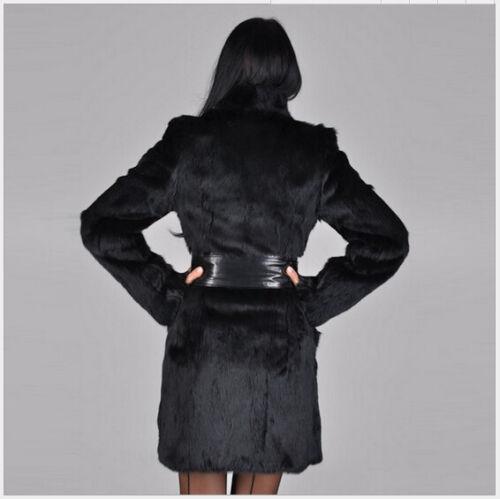 Fur Frakke Jacket Kvinders Sz Trench Strikkede Faux Sweater Sort Winter Outwear Lang UwXqX6nrSt