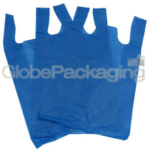 "100 x BLUE PLASTIC CARRIER BAGS 11x17x21"" 16Mu *OFFER* - FAST DELIVERY 5055502310015"