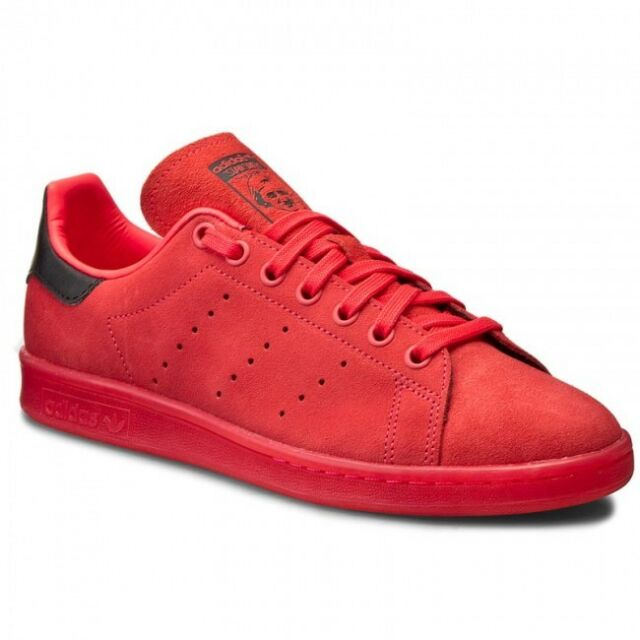 adidas Stan Smith Mens S80032 Shock Red Suede Athletic Shoes ... a493aa87623a