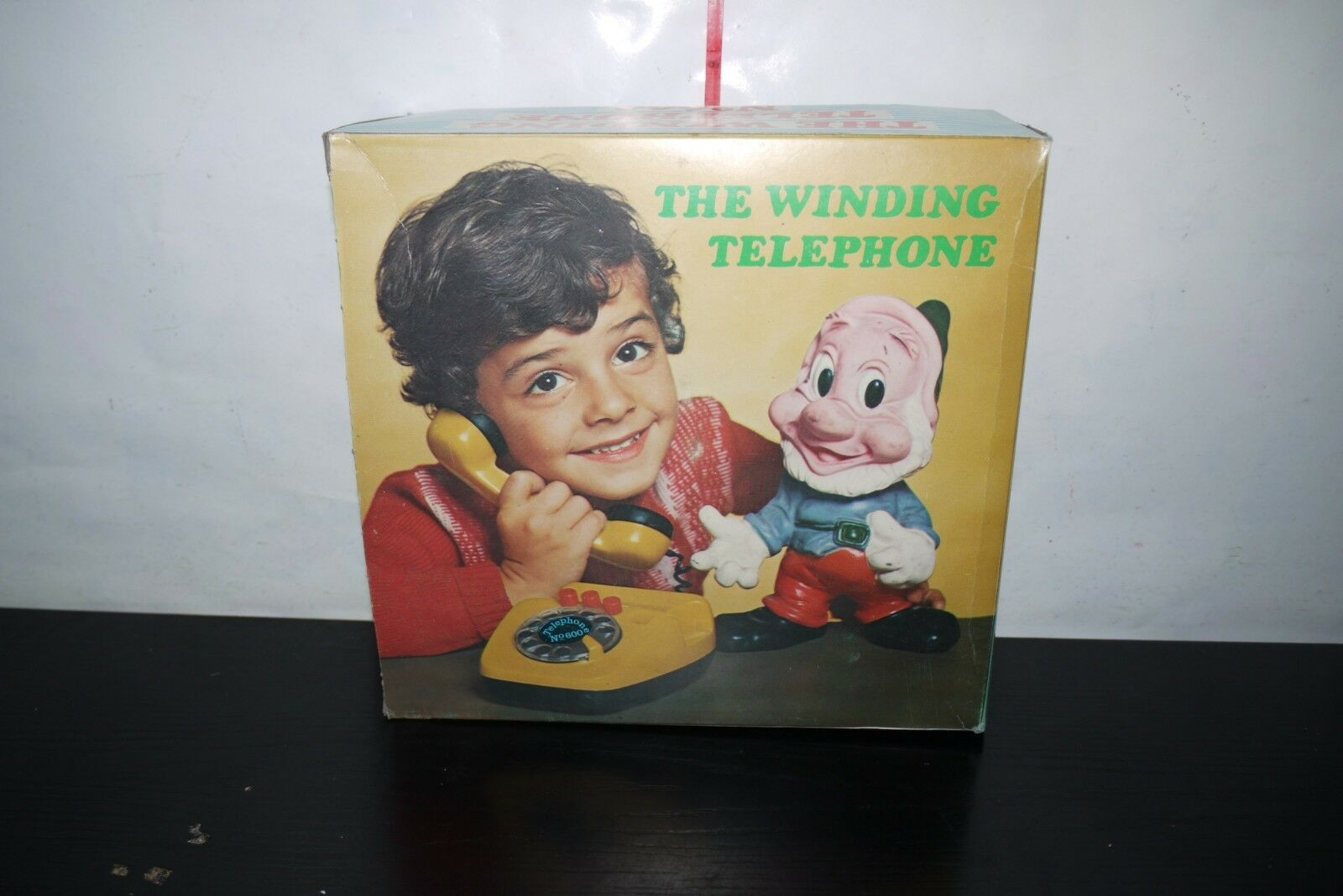 VINTAGE 80'S GREEK PAPPAS THE THE THE WINDING TELEPHONE WIND UP PLASTIC TOY MIB 94cf21
