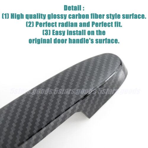 Glossy Carbon Fiber Side Door Handle Covers Trims For 2001-2005 Toyota RAV4 SUV