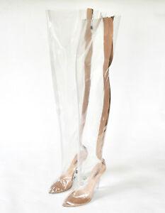 72a805d097c YEEZY SEASON 4 thigh high clear transparent PVC tubular high heel ...