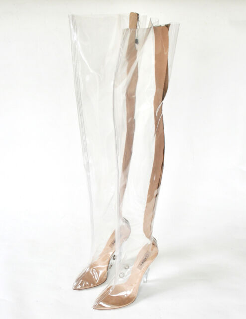 coupon codes rock-bottom price fashionablestyle YEEZY SEASON 4 thigh high clear transparent PVC tubular high heel boots 37  NEW