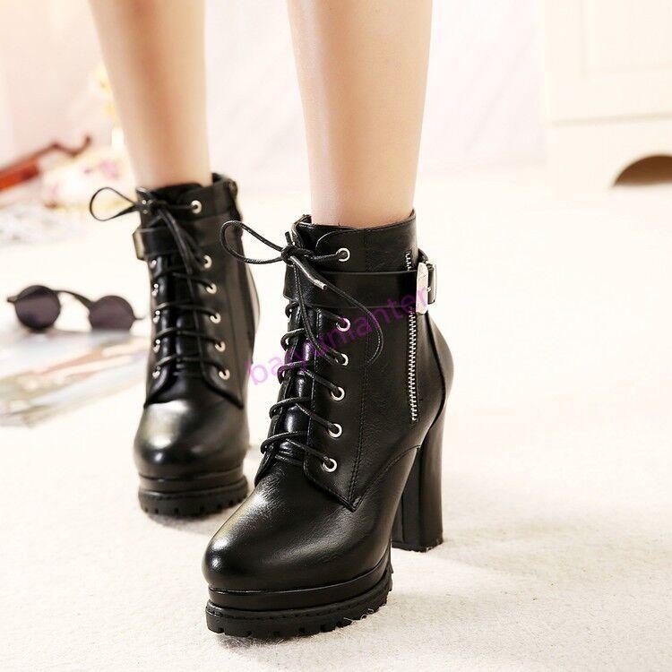 Bottines Femme à Lacets Bottines à boucle et talon bottier haut plate-forme britannique Hiver Chaussures