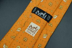 Hermes-Paris-Made-In-France-Orange-Snail-Animal-Pattern-Silk-Tie-7875-UA