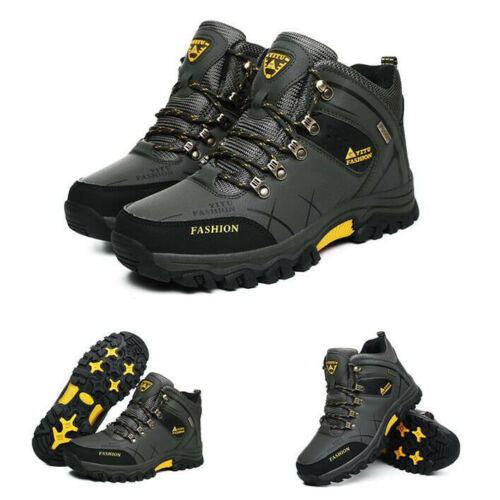 Men Winter Warm Ankle Boots Outdoor Walking Hiking High Top Shoes Fur Sneakers