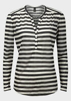 Ladies Black White Stripe Long Sleeve Button Down Casual Top Women Sizes UK S-XL