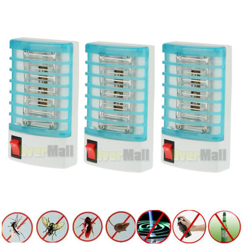 3 Pack Indoor LED Electric Mosquito Fly Bug Insect Trap Zapper Killer Night Lamp