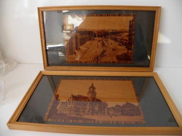 2 Bilder Farbdruck Auf Holz Hinter Glas Stuttgart Bahnhof/rathaus 60er Jahre