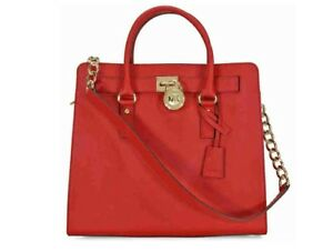 76d64edb6e5aa0 Image is loading Michael-Kors-Hamilton-Large-NS-Saffiano-Tote-Chili-
