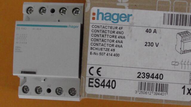 CONTACTEUR CT  4NO  ( OUVERTS AU REPOS ) 40A  230V  HAGER ES440