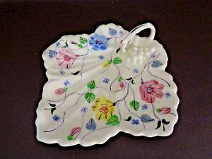 Blue-Ridge-Pottery-Hand-Painted-Serving-Dish-Maple-Leaf-W-Handle-Cat-11B042