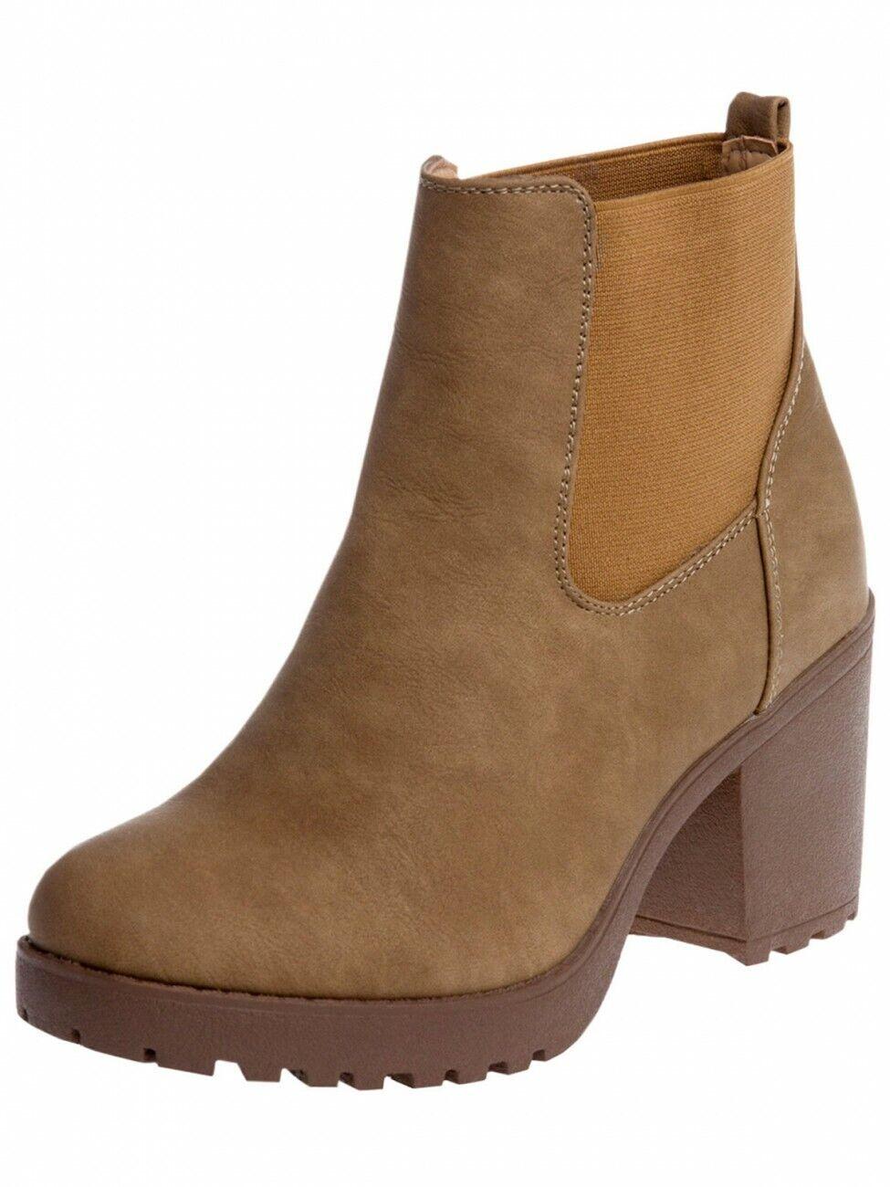 CASPAR SBO045 Womens Vintage Platform Chelsea Ankle Boots with Block Heel