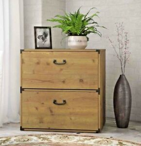 Image Is Loading Wood Filing Cabinet 2 Drawer Lateral Horizontal Metal