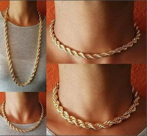 d8b1a74459caf Details about GOLD 5MM 8MM THICK FAT HEAVY ROPE CHAIN 16