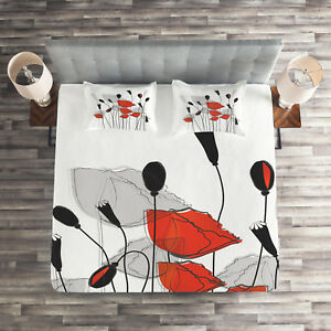 Floral Quilted Coverlet Pillow Shams Set Hand Drawn Poppy Flowers Print Ebay