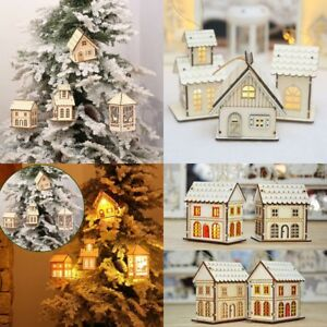 LED-Light-Wood-HOUSE-Mini-Christmas-Tree-Hanging-Ornaments-Holiday-Decorations
