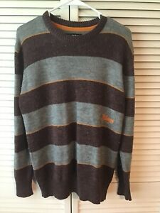 Details about Billabong Mens Pullover Sweater Crew Neck Wool Blend Sz Small Striped FREE SHIP