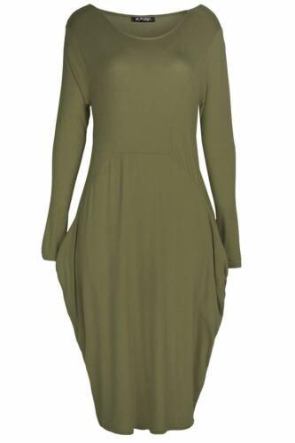 Womens Italian Drape Lagenlook Baggy Long Sleeve Ladies Side Pockets Midi Dress