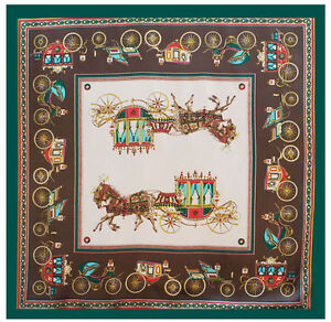 Women-039-s-Printed-Silk-Satin-Square-Scarf-of-Royal-Carriage-Shawl-Hijab-35-034-35-034