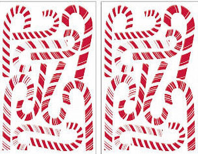Glitter Puff Candy Canes Wall Stickers 22 Decals Holiday Christmas Peppermint 871693004183 Ebay