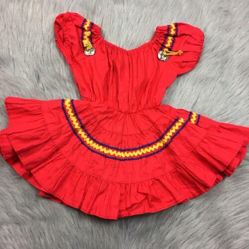 Vintage 50s Toddler Girls Western Full Skirt Red R