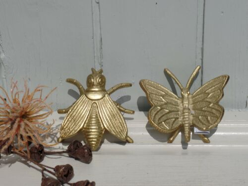 Deko Insekt Figur Schmetterling Fliege Goldfarb Aluminium Home Living H.3cm+5 cm