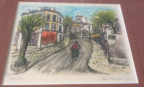 "Ira Moskowitz Etching Print ""Paris Street Scene"" Hand Colored-Signed #655"
