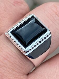 Mens-Real-Solid-925-Sterling-Silver-Black-Onyx-Signet-Ring-Size-7-8-9-10-11-12