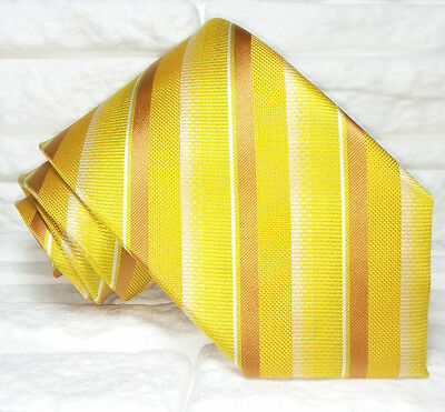 Brillante Cravatta Oro Jacquard Made In Italy 100% Seta Regimental Business Evento Brividi E Dolori