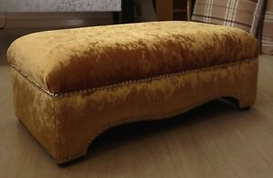 Details About New Large Footstool Coffee Table Gold Crushed Velvet