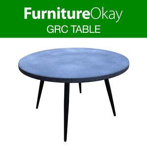 Outdoor Dining Faux Stone Concrete Table 120cm Round Patio Garden Furniture Ebay