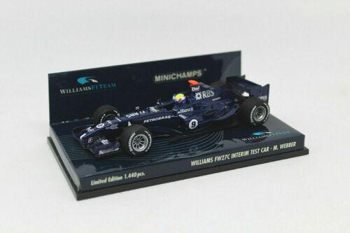 Williams FW27C Interim Test Car M.Webber 400050109 Details about  /MINICHAMPS 1//43