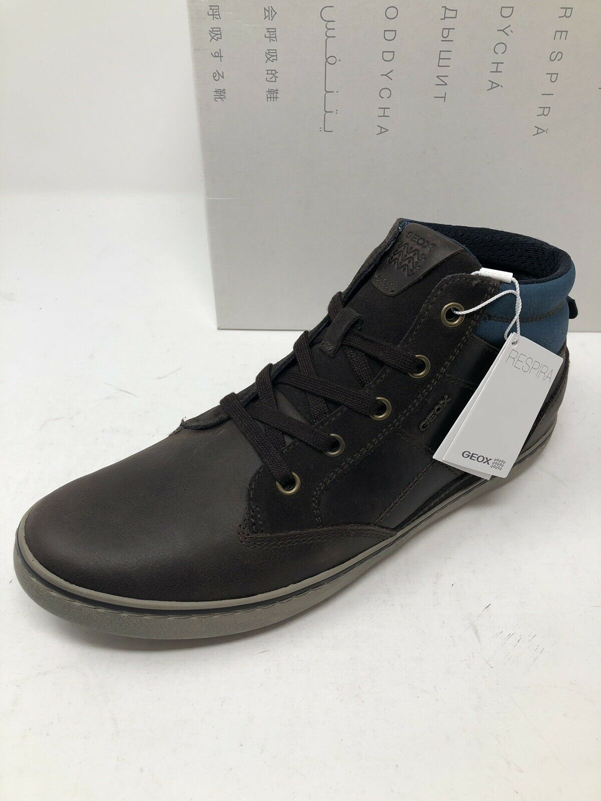 New Geox Mens shoes Brown Sneakers High Tops Size 7 US 6 EU