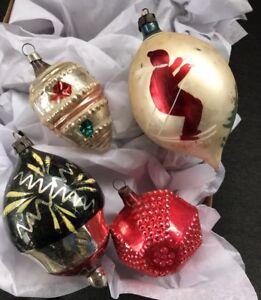 4 Unusual Vintage Mercury Glass Christmas Ornaments Elaborate Shapes ...